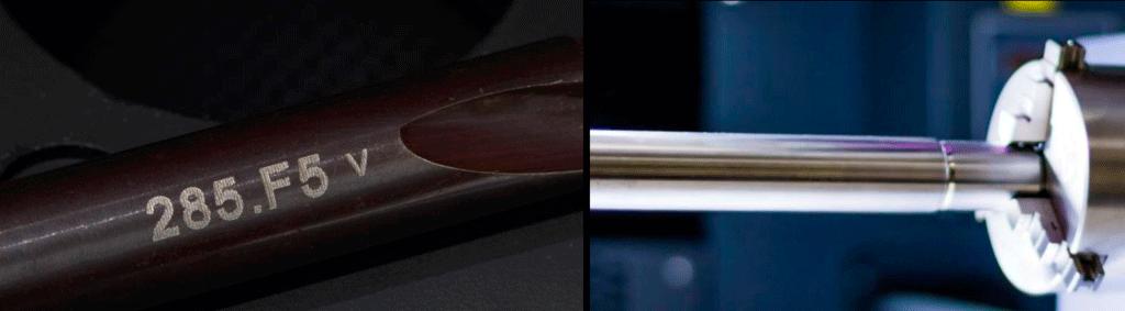 Marcado de herramientas cilíndricas con láser y un dispositivo rotativo